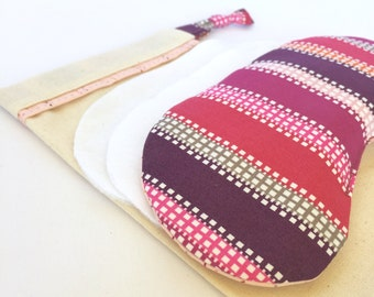 Lavender Eye Mask: shades of Violet stripes and squares with stitched lines on Pink backing