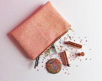 Light Pink Glitter Clutch Bag, Sparkly Pink Evening Bag, Pastel Pink Glitter Party Bag, Glitter Wedding Bag,