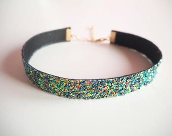 Purple Rainbow Glitter Choker, Sparkly Purple Choker Necklace, Dark Purple Glitter Choker, Night Sky Glitter, Purple Glitter Necklace,