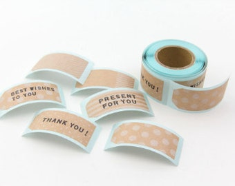 Kraft and White Label Sticker Roll - Midori Kraft Message Tag Pattern