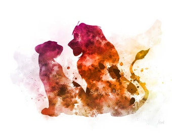 Simba and Nala, The Lion King inspired ART PRINT illustration, Disney, Wall Art, Home Decor, Nursery
