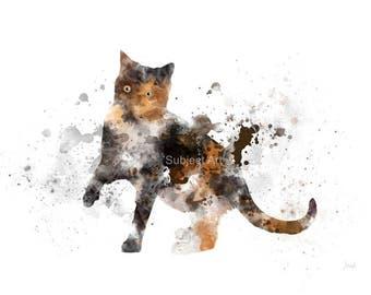 Tortoiseshell cat ART PRINT Illustration, Cat, Animal, Wall Art, Home Decor