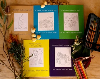 Set of 5 Hand Illustrated Wildlife Colouring Books