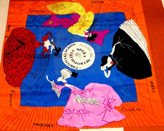 Vintage 1980's Metropolitan Opera Christian LaCroix Commemorative Silk Scarf
