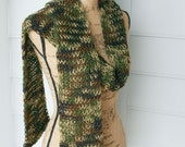 Reserved for Ittybit  Your Camo Scarf is Finished.  Knitted Long Scarf  in green camo yarn.