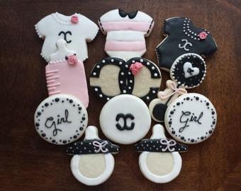 Chanel Baby Shower Sugar Cookies, fashion cookies, baby shower sugar cookies, girl birthday cookies