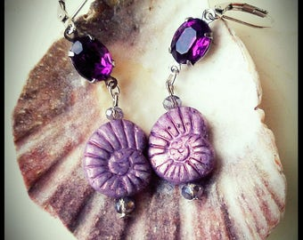 Beautiful Earth Collection, Vintage 1950's Amethyst Rhinestone and Nautilus Earrings