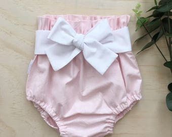 Light Pink High Waist Bloomers with white belt