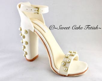 Gumpaste High Heel Shoe/ Cake Topper/White, gold and pearls fondant shoe/