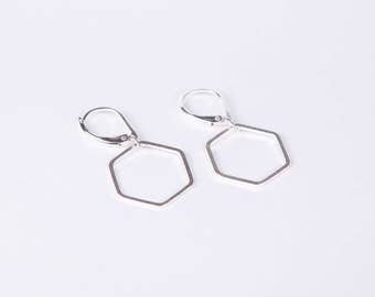 Silver Hexagon Earrings Hive Earrings Dangly Earrings  Hive  Silver