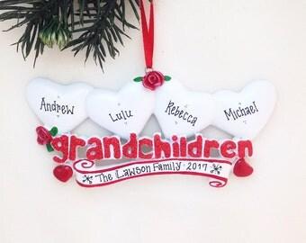 FREE SHIPPING 4 Grandchildren Personalized Christmas Ornament / Grandparents Ornament / Grandmother Ornament / Grandfather Ornament