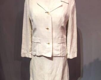 2 Pieces Linen - Silk White Dress & Jacket