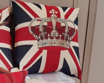 Crown on Union Jack Cushion