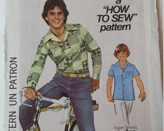 Vintage 1977 Simplicity Sewing Pattern 7824 Boys' shirts in Size 10