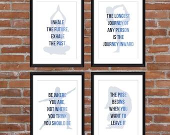 Set of 4 Yoga Prints  11 x 14/8 x 10/ 5 x 7   A3/A4/A5  Typography Prints