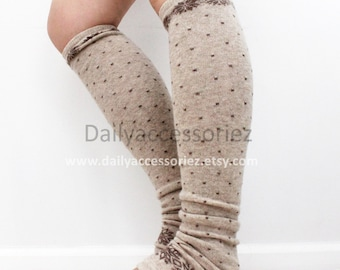 mocha brown polka dot womens leg warmers, snowflakes, knit leg warmers, adult, boot socks, for girls, for women, Christmas Gifts, for her