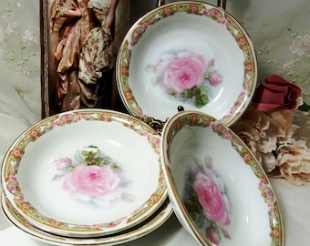 Antique circa 1880, Z S & Co, Bavaria Dessert Bowls, Set of 4, Pink Roses