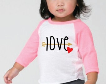 arrow love t-shirt/valentine t-shirt/kids t-shirt