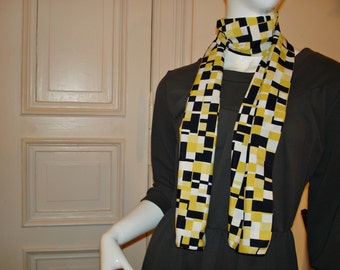 Scarf scarf cloth from 80s fabric geometric pattern black yellow white scarf 80s fabric geometric pattern black yellow white