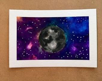 Dark Side of the Moon - Original Watercolor
