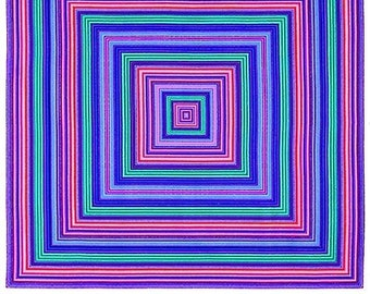 """Vivid - Concentric Squares Pop Art Appeal Fabric Panel 36x44"""" Wall Art Quilting Craft Free Post"""