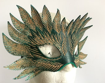 Forest Green Man Leather Mask