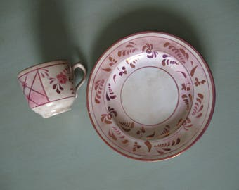 Pink Lustre Cup and Plate with Roses--Antique and Shabby Cool