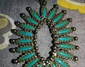 Vintage faux southwestern petit point turquoise silver pendant