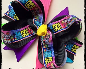 Teen Titans Go Hair Bow Birthday Party Decorations Outfit Beast Boy Raven Cyborg and Starfire Shirt Dress Invitation Girls Celebration