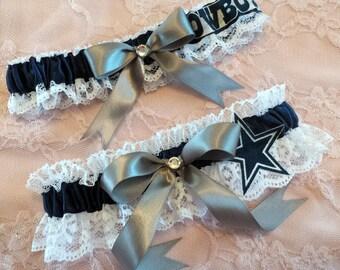 Dallas Cowboys Inspired White Lace Football Wedding Garter Belt Set