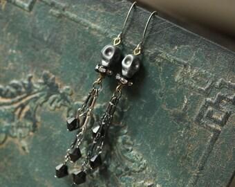 Hematite Skulls Cascading Dangle Earrings / edgy rocker chic jewelry jet black beads chandeliers statement earrings skullies Day of the Dead