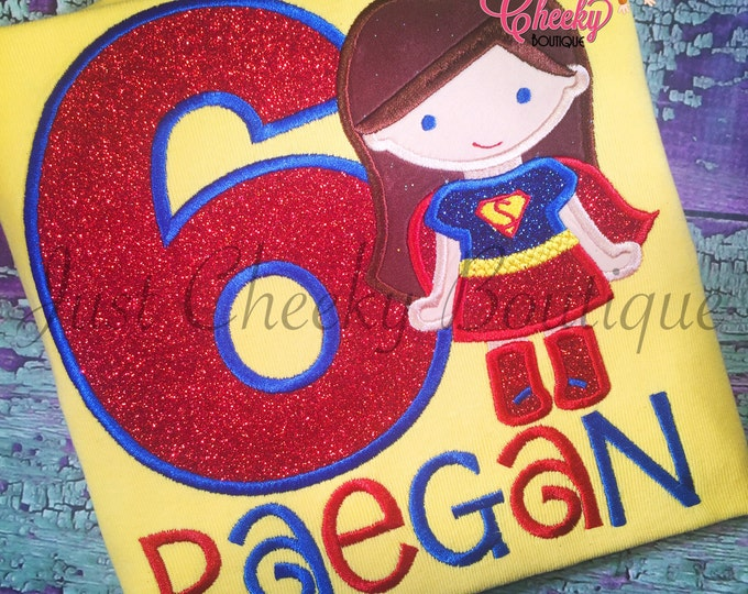 Super Girl with Brown Hair Inspired Cutie Birthday Shirt - Superhero Embroidered Shirt - Superhero Birthday - Supergirl Birthday Shirt