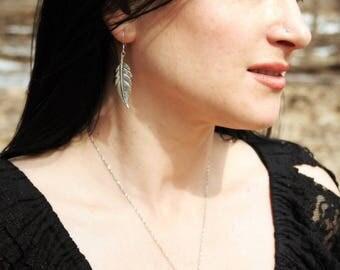 Sterling silver feather earrings  - Handmade medieval earrings in silver