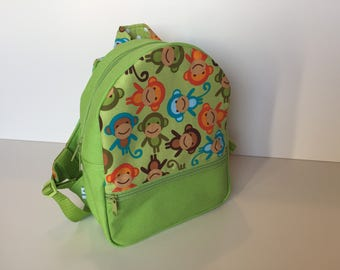 Backpack (M) 'Monkey Party' green