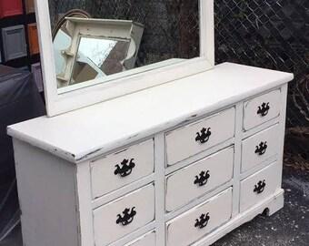 Chic cottage wood Dresser with Mirror