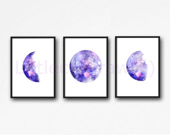 Moon Phase Print Set of 3 Watercolor Prints Luna Galaxy Decor Lunar Phases Moon Art Home Decor 3 Art Prints