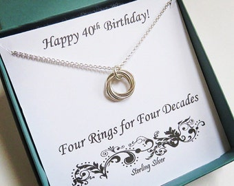 40th Birthday Gift for Women, Sterling Silver Birthday Necklace, 40th Birthday Gift, love knot, Milestone gift, 40th birthday necklace, mhd