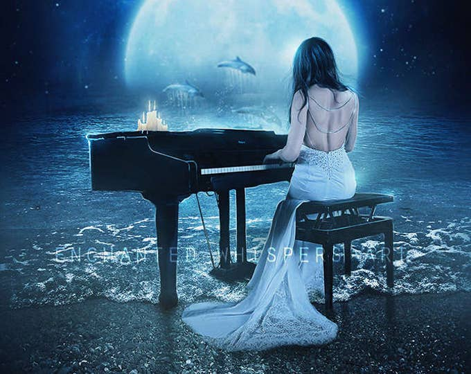 fantasy woman playing piano by the sea art print