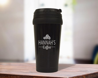Black Stainless Steel Coffee Travel Mug, Personalized Office Gift
