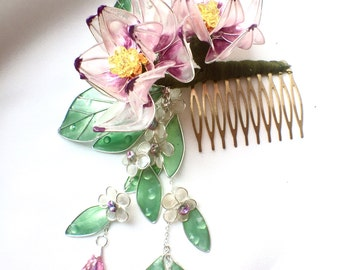 Magnolia flower haircomb