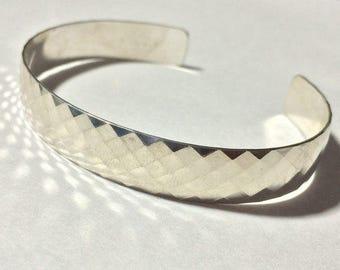 Sterling Silver Bracelet, Textured Cuff Bracelet, Cuff Bracelet for Women