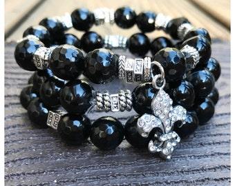 Black Agate Beaded Fleur De Lis Charm Bracelet Set