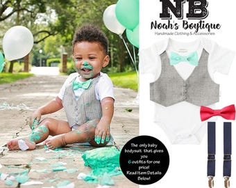 Baby Boy Birthday Gift Set - Baby Boy Clothes - Gray Vest - Mint Bow Tie - Coral Bow Tie - Navy Suspenders - First Birthday - Cake Smash