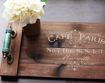 Rustic Serving Tray, Wood Tray, Paris Décor, Centerpiece, Wooden Tray with Handles, Rustic Home Décor, Customizable Tray, Kitchen Decor