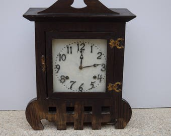 Vintage Sessions Mission Style Arts & Crafts Mantel Clock Farmhouse Chic