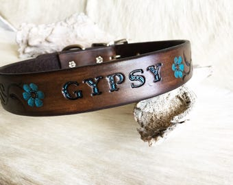 Customized with your pets name! Brown leather dog collar with turquoise flower accents and persnalized pet's name