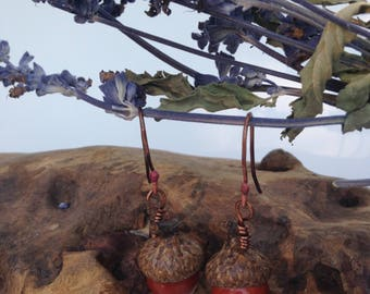 Acorn Earrings - Handmade - Red Jasper Gemstones - Acorn Tops