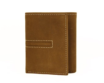 Mens Tri Fold Wallet Light Brown Genuine Leather Handmade Sirocco-4877LB
