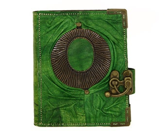 Big Pendant on a Green Refillable Leather Journal / Notebook / Handmade