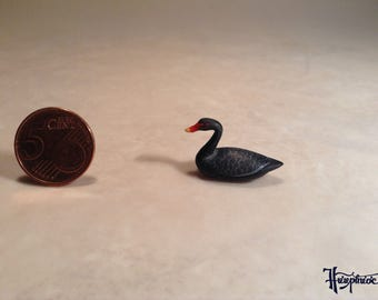Wooden miniature black swan (ID No. bs2)